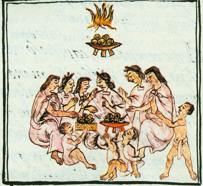 Florentine Codex the eating of tamales stuffed with Amaranth.jpg